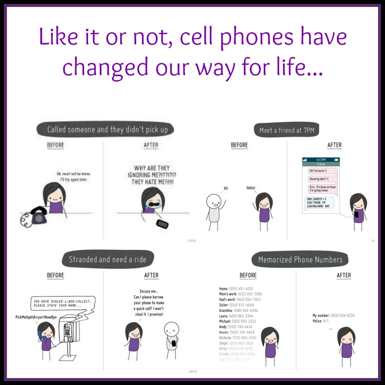 Before and after cell phones Collage
